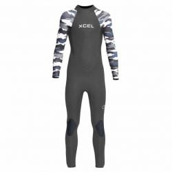 Xcel Axis Youth 4/3mm Back Zip Wetsuit 2021 - Black/Camo White - Full View