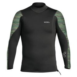 Xcel Axis Long Sleeve 2/1mm Mens Wetsuit Jacket 2021 - Black/Camo - Front