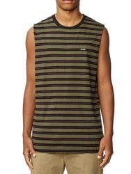 Globe Moonshine Stripe Mens Sleeveless Tee - Green Forest