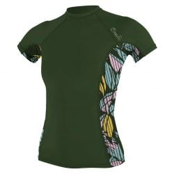 O'Neill Side Print Womens Rash Vest 2021 - Dark Olive