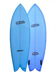 "Rebel Retro Fish 5'10"" Surfboard - Blue"