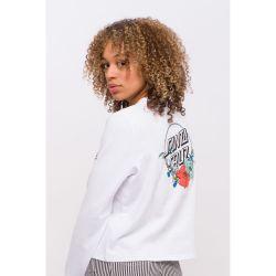 Santa Cruz Floral Dot Crew Sweater - White