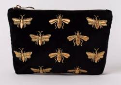 Elizabeth Scarlett Black Bee Velvet Makeup Bag