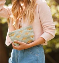 Elizabeth Scarlett Sage Green Bee Velvet Makeup Bag