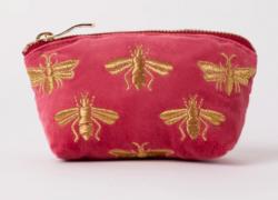 Elizabeth Scarlett Dusky Pink Bee Velvet Coin Purse