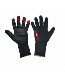 Tiki Tech 2/5mm Junior Wetsuit Gloves 2021 -Black/Red - Front and Back
