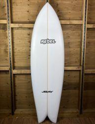 Rebel Retro Fish Surfboard - White