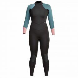 Xcel Axis 5/4mm Womens Back Zip 2021 - Black/Green/Pink - Full View