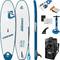 """Cressi Element Allround 10'2"""" ISUP Stand Up Paddle Board Set 2021 - White/Blue - Full View"""