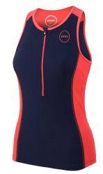 Zone 3 Aquaflo Plus Womens Tri Swim Top  2021 - Navy/Coral - Front
