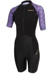 Zone 3 Lava Short Sleeve Womens Aero Trisuit 2021 - Purple/Black - Front