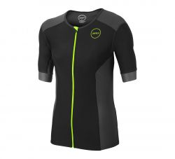 Zone3 Aquaflo+ Short Sleeve Mens Tri Top 2021 - Black/Neon Green
