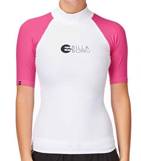 Billabong Logo Short Sleeve Ladies Rash Vest - Pink