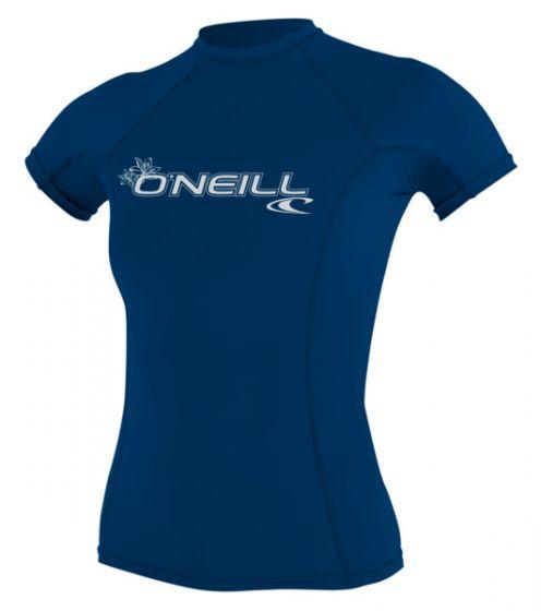 O'Neill WMS Basic Skins S/S Crew Rash Vest - Blue - 2016