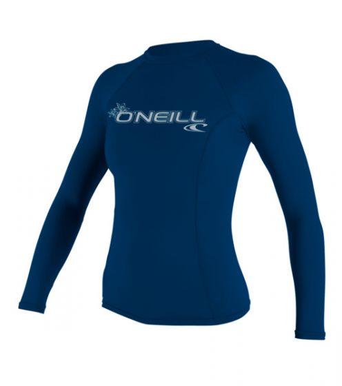 O'Neill WMS Basic Skins L/S Crew Rash Vest - Blue - 2016