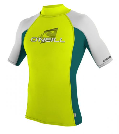 O'Neill Short Sleeve Lycra Rash Vest - Turtleneck - Lime - 2016