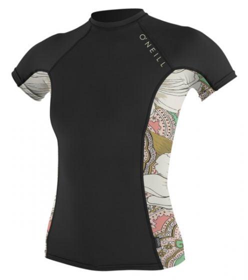 O'Neill WMS Skins Side Print S/S Crew Rash Vest - Black/Flora - 2016