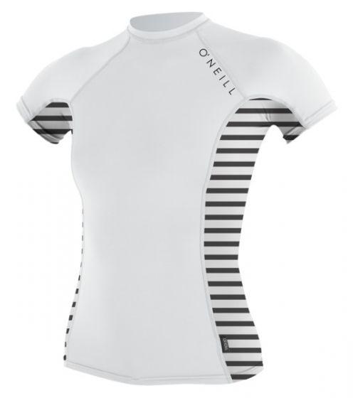 O'Neill WMS Skins Side Print S/S Crew Rash Vest - White/Stripe - 2016