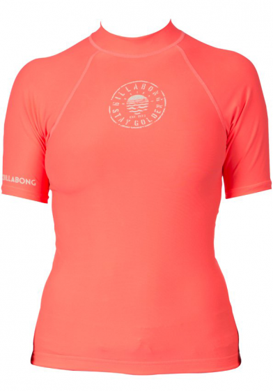 Billabong Logo Ladies Rash Vest 2016 - Neon Coral