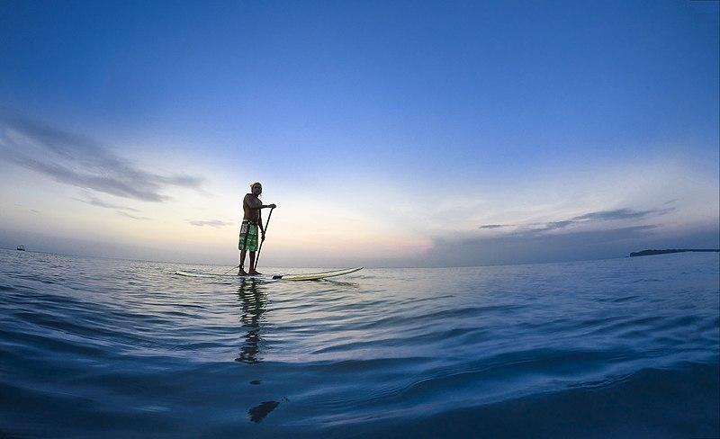 Men enjoying standup paddleboarding