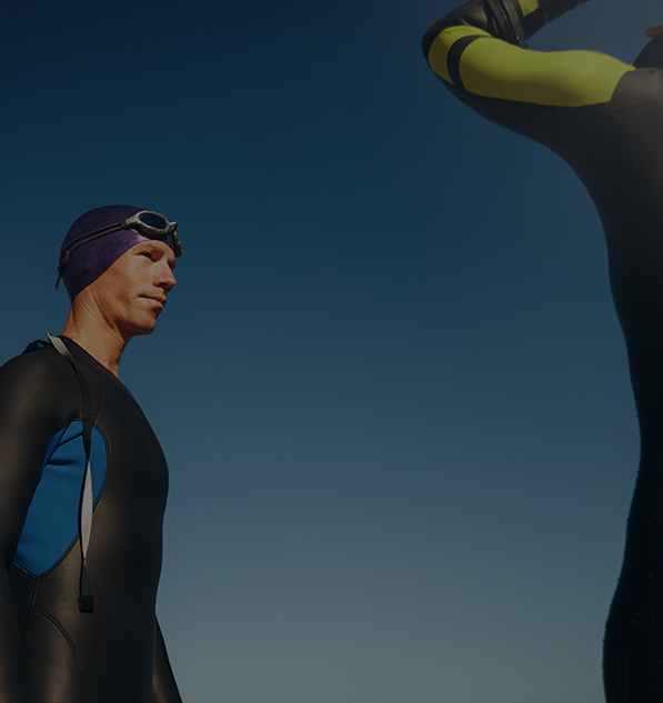 Divers wearing triathlon wetsuit